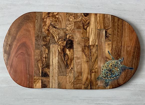 Custom order-Sea turtle Olive wood cutting/charcuterie board