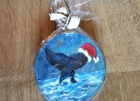 Whale tail and Santa hat ornament