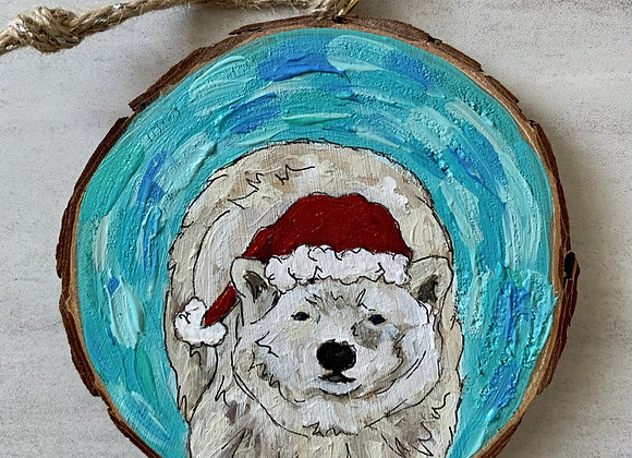 Polar bear with Santa hat ornament