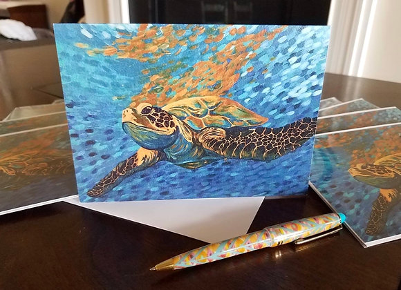 """Sean"" sea turtle - 5 blank greeting cards"