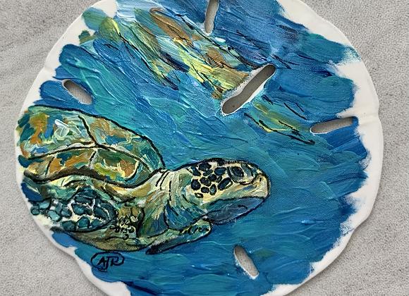 Sea turtle close up ornament