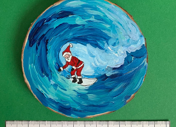 Surfing Santa hand painted ornament
