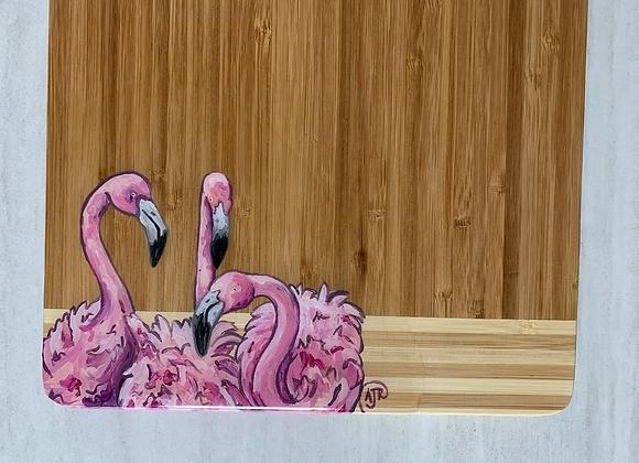 Three flamingos bamboo cutting board