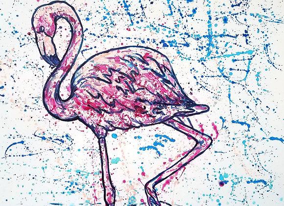 Flamingo splatter/drip painting