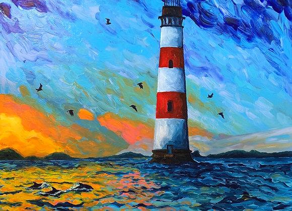 Morris lighthouse, Folly Beach Piet, & Pineapple fountain acrylic paintings