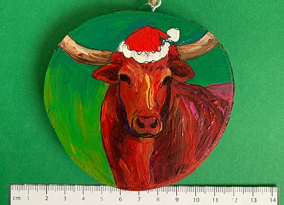 Longhorn with Santa hat hand painted ornament