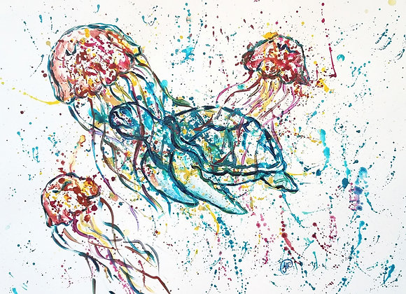 Sea turtle and jellyfish splatter/drip painting by Amber Ruehe