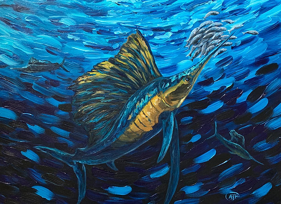 Sailfish in the open ocean acrylic painting by Amber Ruehe