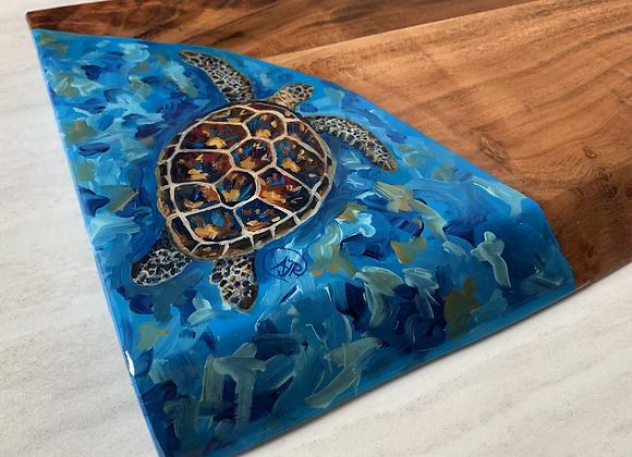 Custom order-Sea turtle underwater background cutting/ charcuterie board
