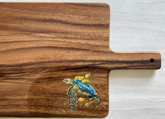Sea turtle with fish on back wood charcuterie board