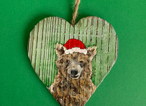 Bear with Santa hat hand painted ornament