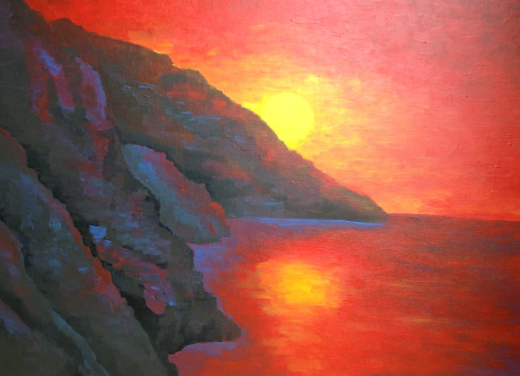 Red sky sunset acrylic painting by Amber Ruehe