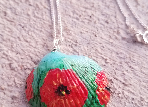Handpainted Red poppies necklace