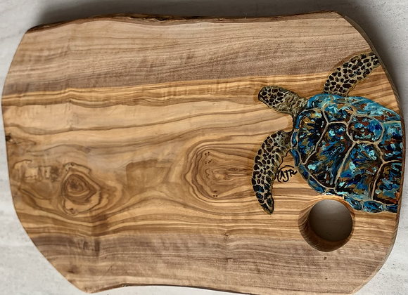 Sea turtle on Olive wood cutting /charcuterie boards