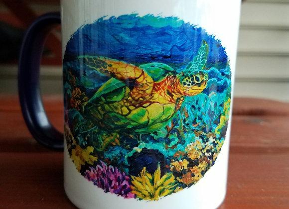 Oval sea turtle/coral navy blue 11oz. Mug