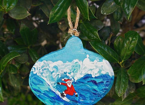 Riding a wave Santa