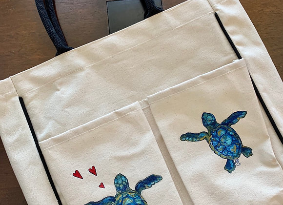 Two Sea turtle and hearts canvas tote bag