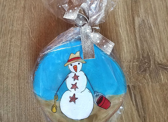 Snowman with starfish buttons ornament