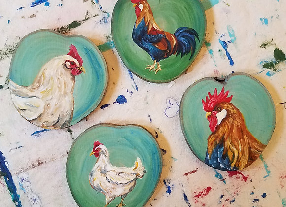 Chicken and Rooster set of 4 coasters