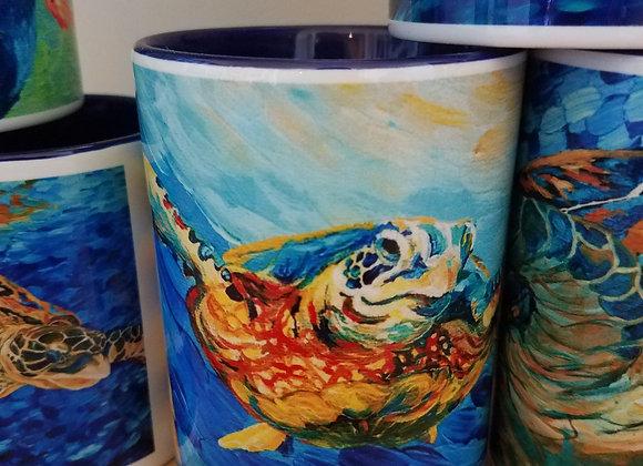 Sea turtle 15oz navy inside coffee mug