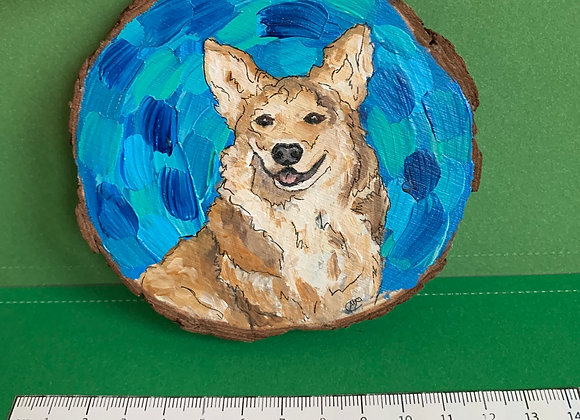 Corgi dog hand painted ornament