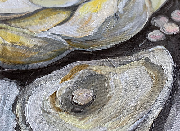 Magnolia and pearls acrylic painting by Amber Ruehe