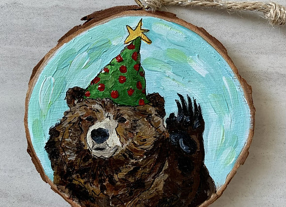 Bear waving with hat ornament