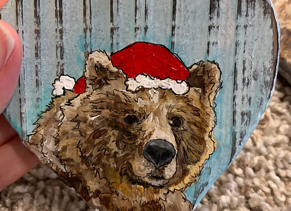 Big bear with Santa hat hand painted ornament