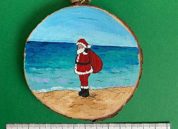 Santa and toy bag ornament