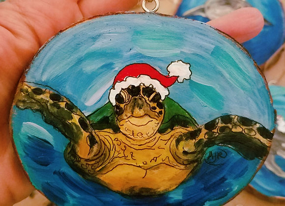 Sea turtle with Santa Hat ornament