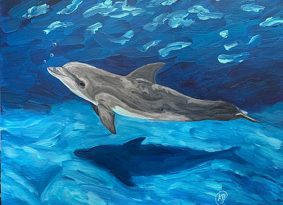 Dolphin blowing bubbles acrylic painting