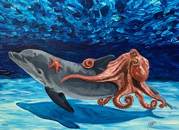 Dolphin, octopus,& starfish acrylic painting by Amber Ruehe