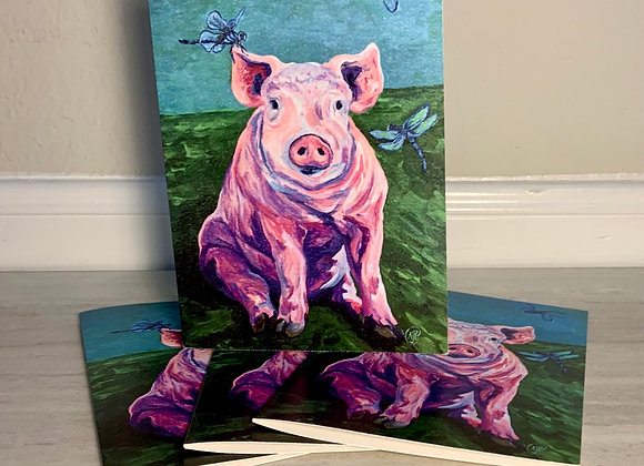 Pig and dragonflies -5 blank greeting cards