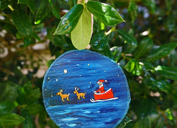 Reindeer and Santa ocean Ornament