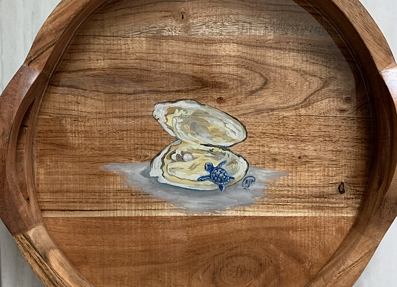 Oyster with pink pearl and baby turtle acacia wood tray