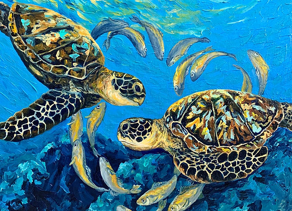 Sea turtles in love with yellow fish