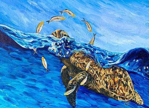 Sea turtle and fish flipping over acrylic painting by Amber Ruehe