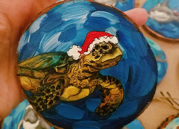 Sea turtle with Santa hat looking right ornament