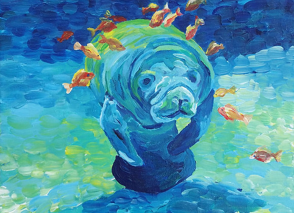 """Manatee and friends"" Fine art print"