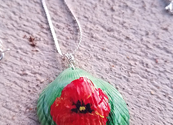 Hand painted Red Poppy necklace