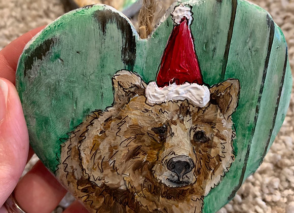 Bear hand painted ornament