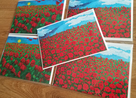 """""""Love"""" red poppies- 5 greeting cards"""