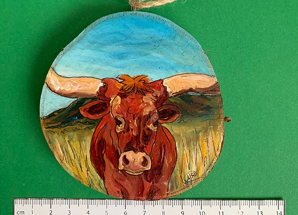 Longhorn hand painted ornament