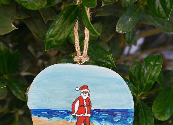 Santa holding board ornament