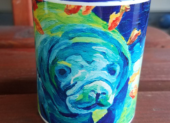 Manatee And fish 11oz navy coffee mug