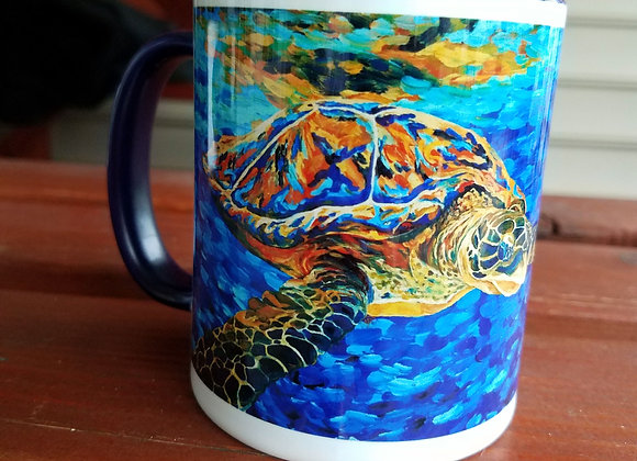 Sea turtle Navy blue 11 oz. Mug