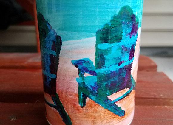 Beach chairs white 15 oz coffee mug