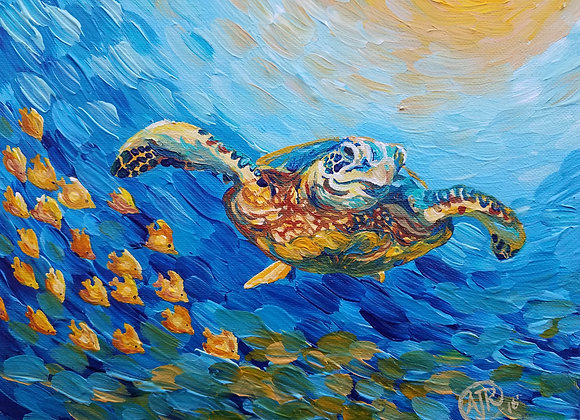 Sea turtle with fish swimming Giclee fine art print