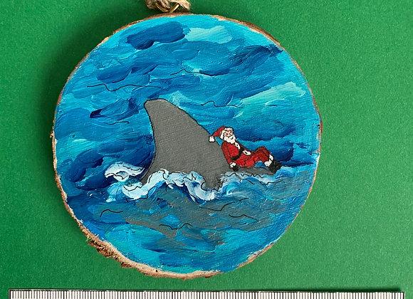 Shark fin with Santa ornament