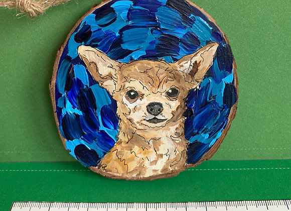 Chihuahua hand painted ornament